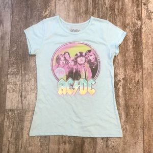 AC/DC LITTLE GIRLS SHORT SLEEVE BAND TEE SIZE 14 L